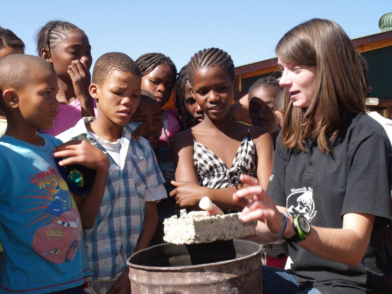 DD Guibib Primary School -Kids making fire bricks from recycled paper