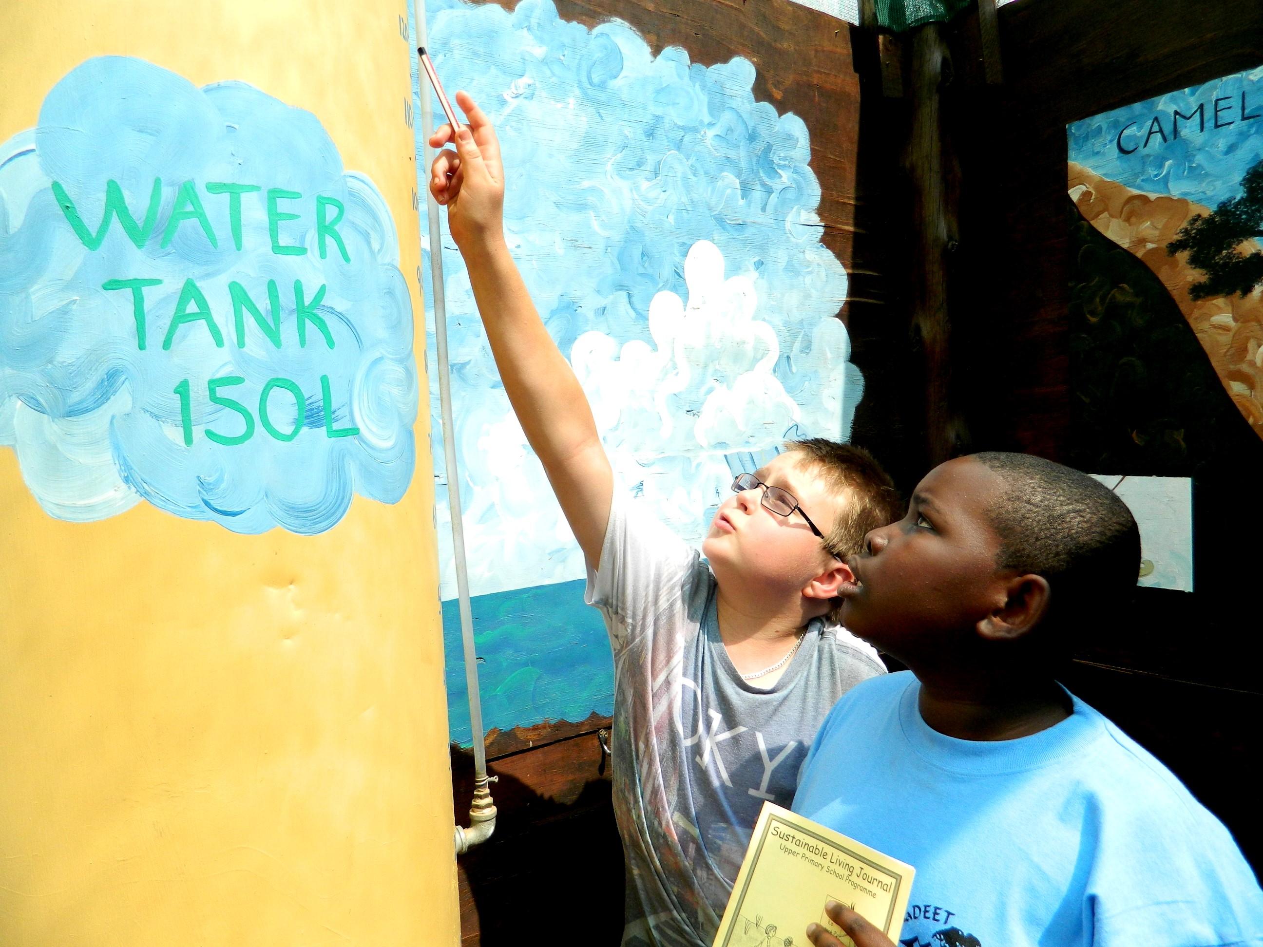 Measuring the water tank