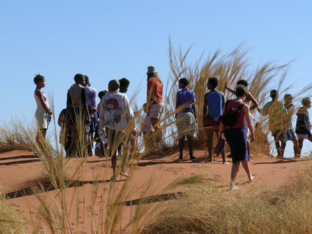 NaDEET learners on dune walk