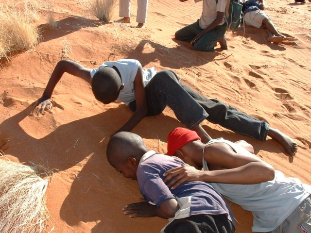 Learners use their sense of hearing to locate dune life