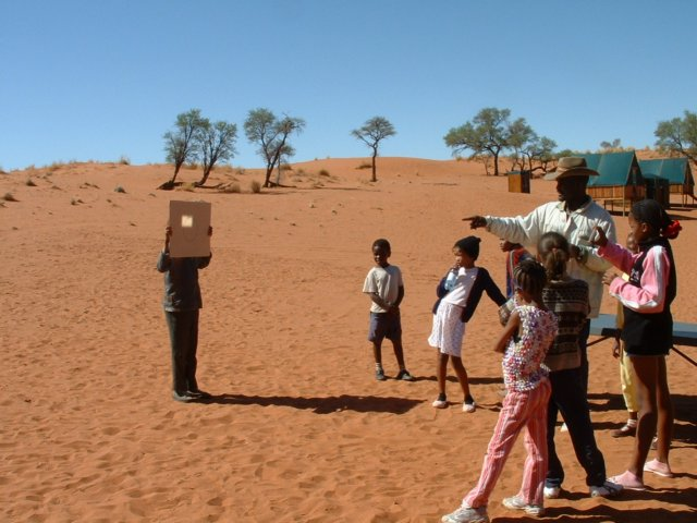 Learners observe solar reflection