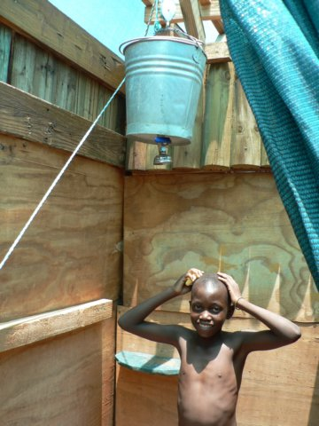 Water saving bucket showers are the best